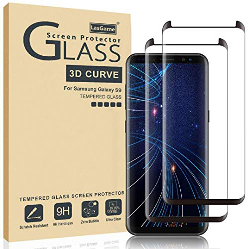 LasGame Glass Screen Protector for Samsung Galaxy S9,[2 Pack] 3D Curved Tempered Glass, Dot Matrix with Easy Installation Tray, Case ()