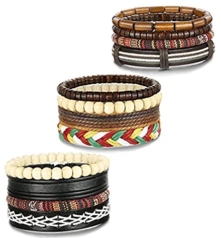 FIBO STEEL 12 Pcs Leather Bracelets for Men Women Wooden Bead Bracelet Cuff Elastic,BCH - Bracelets