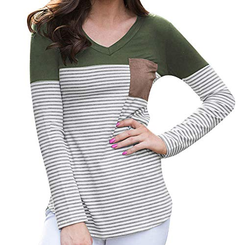 Striped Ruched V-neck Shirt - UONQD Womens Blouse Striped Pocket V Neck Long Sleeve T-Shirt Tops Ladies (Small,Xc-Green)