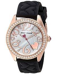 Betsey Johnson Women's BJ00048-172 Black Heart Textured Silicone Strap Watch