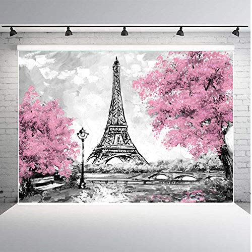 Qian Pink Flowers Trees Eiffel Tower Background Photography Gray Paris Photo Studio Props Banner Wedding Theme Party Backdrops Vinyl 7x5ft -