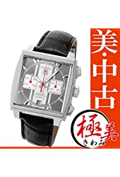 Tag Heuer Monaco Automatic Chronograph Black Dial Black Leather Mens Watch CAW211N.FC6177