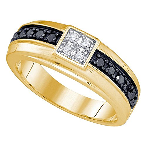 Jewels By Lux 10kt Yellow Gold Mens Round Black Color Enhanced Diamond Cluster Wedding Band Ring 3/8 Cttw Ring Size 10 (Enhanced Diamond Yellow Gold)