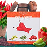 Nature's Blossom Pepper Starter Kit. Grow 4 Types of Peppers from Organic Seeds: Cayenne Pepper, Hot Jalapeno Pepper, Sweet Red Peppers and Yellow Chilli Pepper. Complete Gardening Seed Starter Set.