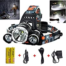 Super Bright 10000 Lumens Led Headlamp Flashlight,Super Bright Headlight ,Waterproof Hard Hat Light, 3 Light 4 Modes, IMPROVED LED with Rechargeable Batteries for Camping Biking Hunting Fishing Outdoor Sports