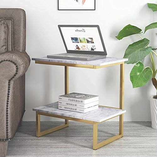 End Tables, Tribesigns Sofa Side Tables Night Stand with 2-Tier Storage Shelf for Living Room or Bedroom, Faux Marble & Gold Metal Frame (Faux Marble) ()