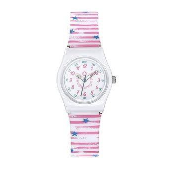 08f9a49924bc8 Montre Fille LuluCastagnette Pop Kid Bracelet en Plastique à motif  marinière Rose et Blanc - Lulu