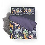 Vantaso Bedding Set Queen Full Animal Giraffe Zebra Floral Leaves 1 Duvet Cover Set 2 Pillow Shams 3PCS Bedroom