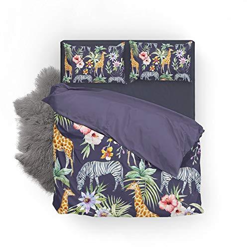 Vantaso Bedding Set Queen Full Animal Giraffe Zebra Floral Leaves 1 Duvet Cover Set 2 Pillow Shams 3PCS Bedroom by Vantaso