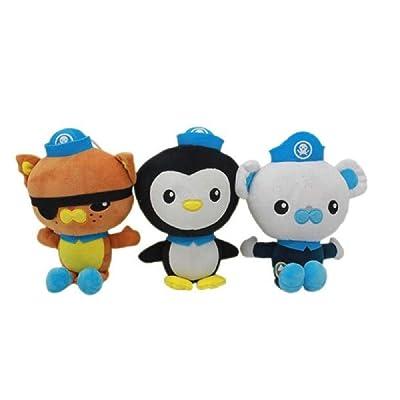 "6"" 3pcs Octonauts Plush Dolls Stuffed Toys Peso Kwazii Captain Barnacles: Toys & Games"