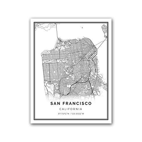 - San Francisco map poster print | Modern black and white wall art | Scandinavian home decor | California City prints artwork | Fine art posters 8.5x11