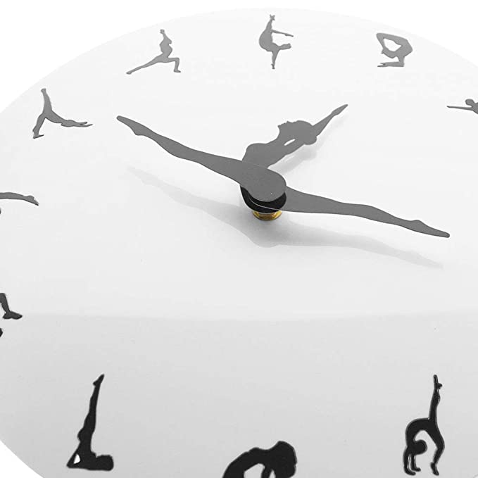 Amazon.com: ZhangXF Yoga Posture Wall Clock,Modern Ballet Dance Classroom Decoration Metal Mute Dancing Fitness Simple Living Room Wall Clock: Home & ...
