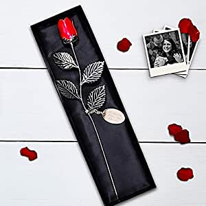 Engraved Silver Plated Red Rose with Gift Box by A1 PERSONALISED GIFTS