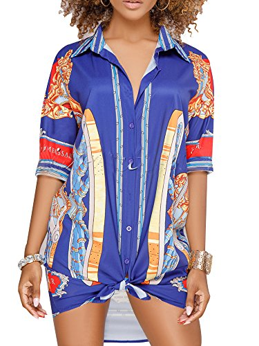 (YouSun Women's Sexy Floral Print Simple Button Down Middle Sleeve Collar Loose T-Shirt Blouse Tops Mini Dress)