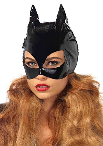 Cat Costumes Mask (Leg Avenue Women's Vinyl Cat Woman Mask Costume Accessory, Black, One Size)