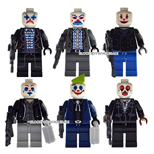 Shalleen New 6 The Dark Knight Joker Bandit Gang Minifigs sets Building Block Toys