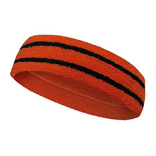 COUVER Long Thick Wider Dark Orange Basketball Headband Terry Cloth with 2 Black Stripes[1 Piece]