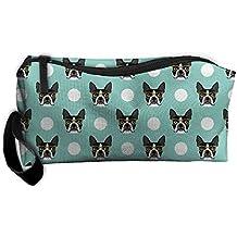 Boston Terrier Dog Multi-functional Cosmetic Makeup Bag Zipper Closure Bags Toiletries Organizer Bag