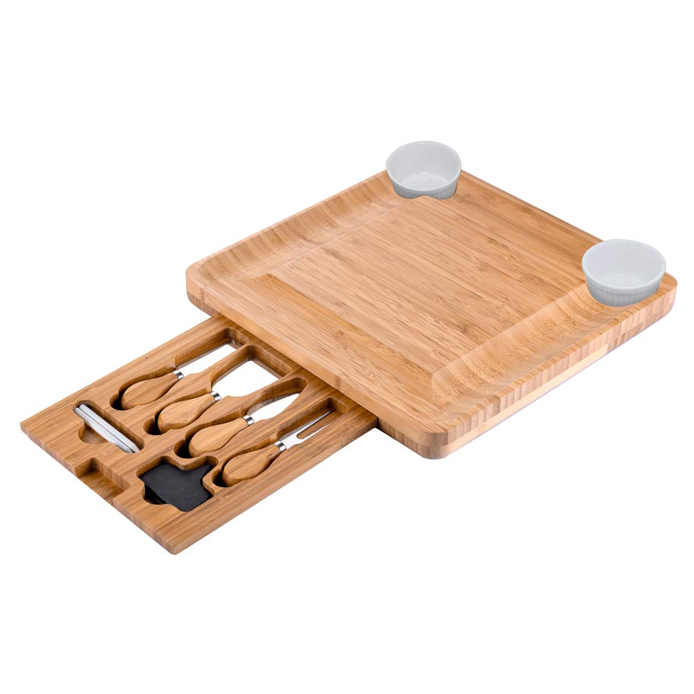 CTFT Cheese Board and Knife Set Bamboo Charcuterie Platter & Serving Tray for Cheese,Wine, Crackers, Brie and Meat by CTFT
