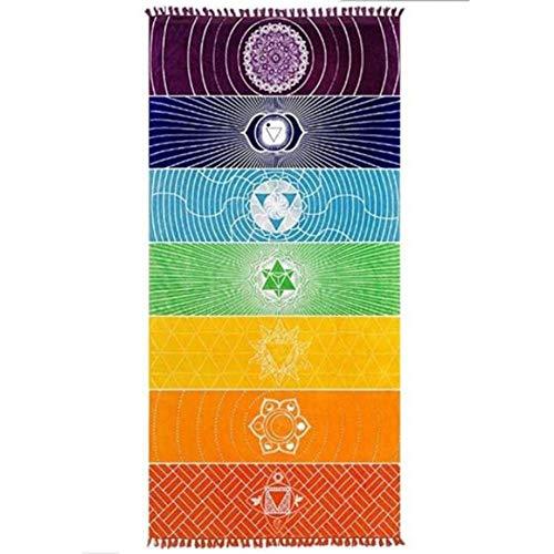 Amasawa 75cm*150cm Indiano Yoga Tapestry Chakra Yoga de Playa Tapices Colgantes Utilizado para Hogar Viajes Decoración del Hogar (Arco Iris)