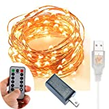 200 LED Indoor/Outdoor Copper Wire Lights w/ Remote & UL listed USB Charger Waterproof Ambiance Lighting for Gardens, Patios, Parties (Timer, 8 Modes, Dimmable, USB interface, Warm White)