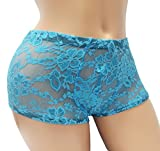 ENVY BODY SHOP Sissy Pouch Lace Boyshorts Panty For Men Blue (XL)