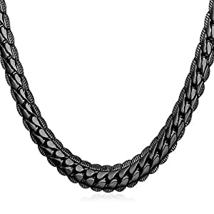 U7 Men Copper Based Cool Black Gun Plated 6mm Wide Snake Chain Necklace (18 Inch)