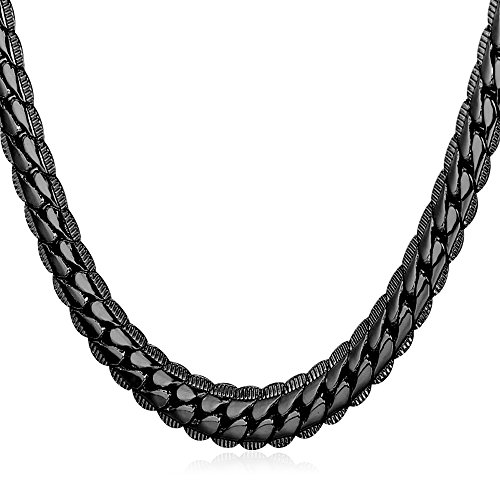 U7 Men Copper Based Cool Black Gun Plated 6mm Wide Snake Chain Necklace (22 (Chain Gun)