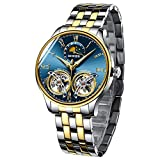Men's Luxury Automatic Mechanical Wrist Watch with Double Tourbillon (Gold Blue)