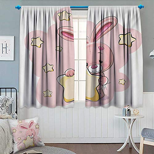 Chaneyhouse Teen Girls Window Curtain Drape Rabbit Bunny with Star Figure Art for Birthday Celebrations Baby Shower Theme Decorative Curtains for Living Room 72