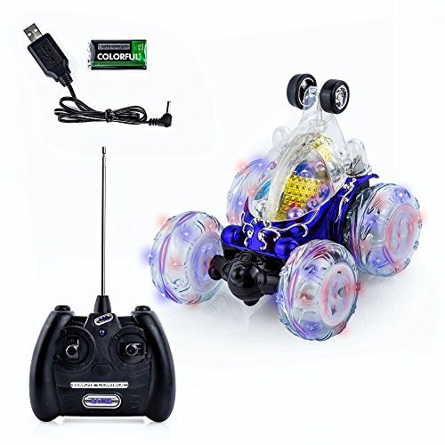 - Spire Tech ST-747 Stunt Car Invincible Tornado 360 Rechargeable Racing Turbo Twister Remote Control Toy with Lights and Sound, Blue