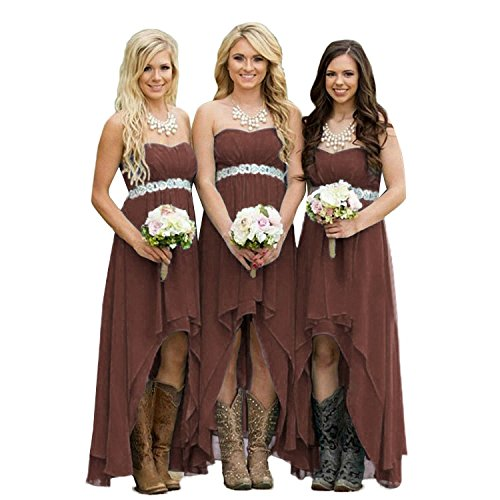 Dress Bridesmaid Brown - Fanciest Women' Strapless High Low Bridesmaid Dresses Wedding Party Gowns Brown US12