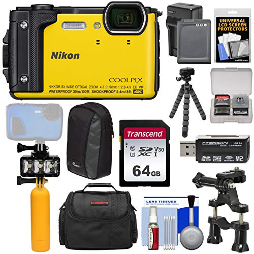 Nikon Coolpix W300 4K Wi-Fi Shock & Waterproof Digital Camera (Yellow) + 64GB Card + Battery & Charger + Diving LED Video Light + Buoy + Cases + Tripod Kit