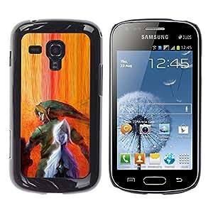 KLONGSHOP // Cubierta de piel con cierre a presión Shell trasero duro de goma Protección Caso - Legend Of Zeldo - Samsung Galaxy S Duos S7562 //