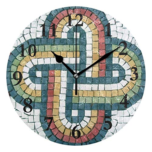 FunnyCustom Round Wall Clock Animal Mosaic Patterns Acrylic Creative Decorative for Living Room/Kitchen/Bedroom/Family ()
