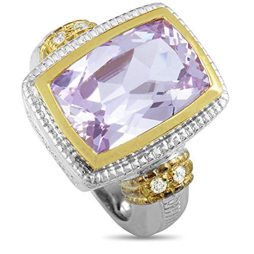 Judith Ripka Cushion Ring - Judith Ripka (Est.) Judith Ripka Silver and 18K Yellow Gold Diamond and Pink Zircon Ring