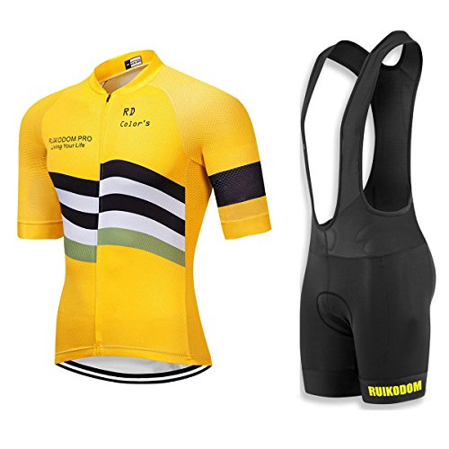 - RUIKODOM Summer Classic Cycling Jersey with Bib Shorts Suit for Men Bike Clothes Set Yellow