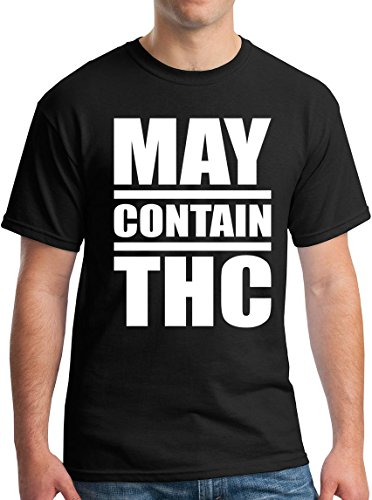 StreetViewTees Funny Weed Shirt May Contain THC 420 Marijuana Tshirt Black M -