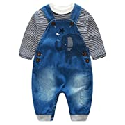 Abolai Cute Baby Boys Clothes Toddler Elephant Jeans Romper Set with Stripe T-shirt Grey 70