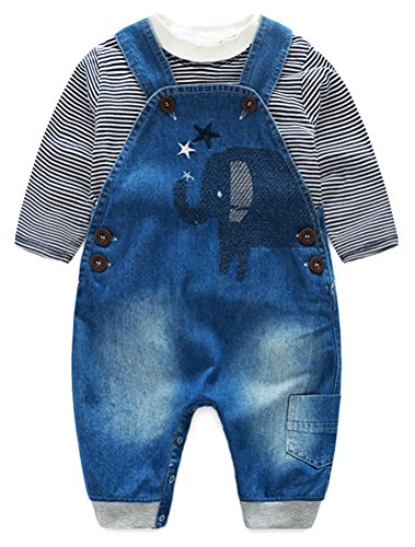 Abolai Cute Baby Boys Clothes Toddler Elephant Jeans Romper Set with Stripe T-shirt Grey (Boys Denim Overall Set)