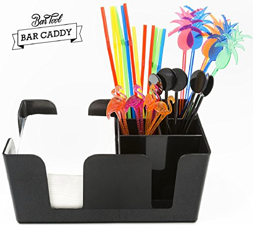 Bar Caddy (6 Compartments) – Bar Supplies Included – All Set and Ready To Go – Includes Napkins, Straws, and Drink Stirrers – Heavy Duty Refillable Bar Organizer (Black) (Drinkware Bar)