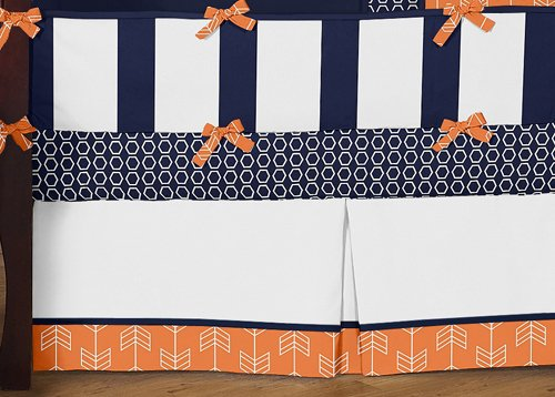 Sweet Jojo Designs Modern Bright Orange and Navy Arrow Print Hexagon 9 Piece Crib Baby Bedding Set with Bumper