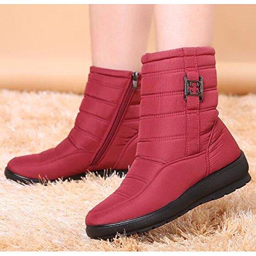 caída para de tejido talón Marrón Green botas de invierno botas rojo Calf poliamida de Zapatos HSXZ verde Negro puntera redonda azul plana Casual mujer Mid botas nieve nPzwpH7x7