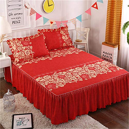 FENGDONG Sanding Fabric Bedspread Fitted Pillowcases Pleated Lace Bed Bedding (Butterfly Single Bed Frame With Storage White)