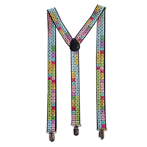 Novelty Suspenders, Chemistry, Rainbow Periodic Table of Elements -
