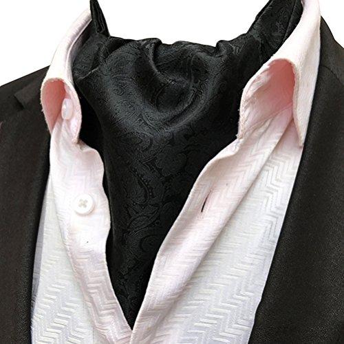 (MOHSLEE Men Black Paisley Party Wedding Cravat Necktie Silk Suit Ascot Scarf Tie)