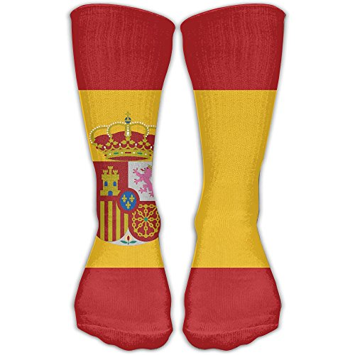 Spain Flag Unisex Crew Socks Wholesale Pop Volleyball Compression 30CM - To Shipping Spain Usps