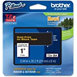 Brother Tape, Gold on Black, 24mm (TZe354) - Retail Packaging