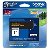 Brother Genuine P-Touch TZE-354 Tape 1  24 mm Standard Laminated P-Touch Tape Gold on Black Laminated for Indoor or Outdoor Use Water-Resistant 26.2 ft 8 m Single-Pack