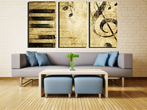NAN Wind Note And Piano'S Keys In The Paper Wall Art Painting Pictures Print On Canvas Music The Picture For Home Modern Decoration Print on Canvas Framed and - Key Art Wall